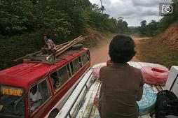 Палаван с крыши автобуса